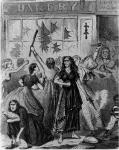 "This May 1863 illustration, titled ""Southern women feeling the effects of the rebellion, and creating bread riots,"" shows the uprising in Richmond. In addition to food, the rioters took candles, shoes, bolts of cloth, hats and jewelry."