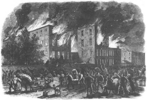 Burning of an African-American orphan asylum (Source: New York City Draft Riots Blog)