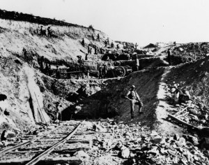 Mormon workers digging the Union Pacific Deep Cut #1 through Weber Canyon (Source: PBS.org)