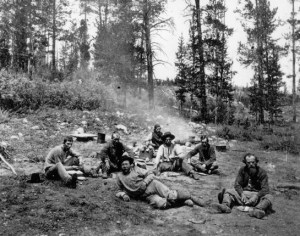 Union Pacific workers taking lunch in Utah's Uinta Mountains