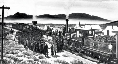 In this painting, a rail official drives the golden spike in Promontory, Utah (Source: Politico.com)