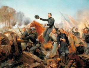 Battle of the Wilderness, Attack at Spotsylvania Courthouse, Virginia, 1865; Painting by Alonzo Chappel (Source: 1stArtGallery.com)