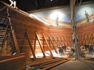 Mock up of snow sled construction on the transcontinental railroad. Photo taken at the California State Railroad Museum.