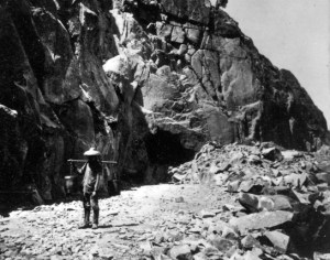 A Chinese tea carrier outside the east portal of tunnel #8 through the Sierras. (Source: PBS.org)