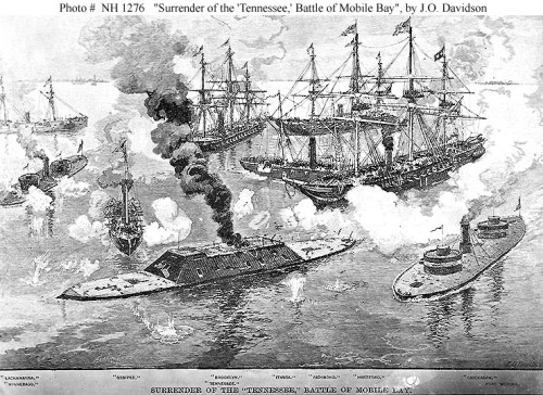 "Entitled ""Surrender of the 'Tennessee,' Battle of Mobile Bay"", it depicts CSS Tennessee in the center foreground, surrounded by the Union warships (from left to right): Lackawanna, Winnebago, Ossipee, Brooklyn, Itasca, Richmond, Hartford and Chickasaw. Fort Morgan is shown in the right distance. (Source: history.navy.mil)"
