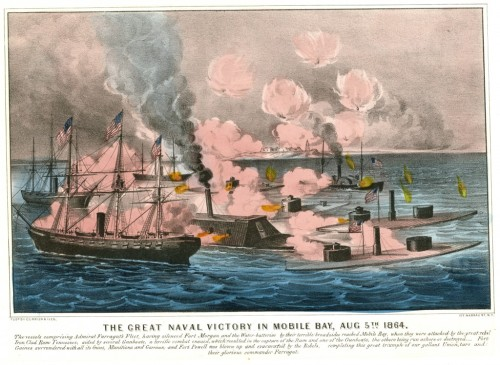 "(Source: Currier & Ives, ""The Great Naval Victory in Mobile Bay, Aug 5th, 1864. PR 100, Maritime History File)"
