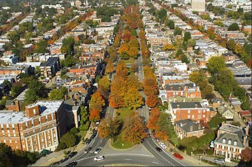 Aerial view of Monument Avenue