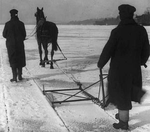 Ice harvesters use a horse-drawn device to mark ice for cutting in Pennsylvania in 1907. (Library of Congress) (Source: History.com)