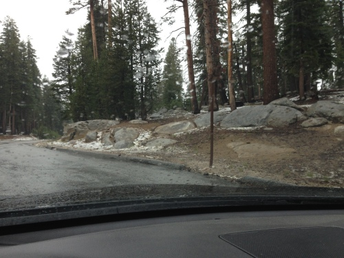 Patches of snow along Tioga Road