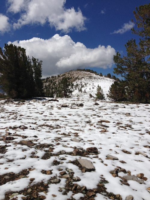 Snow on the ridge, Gaylor Lakes trail