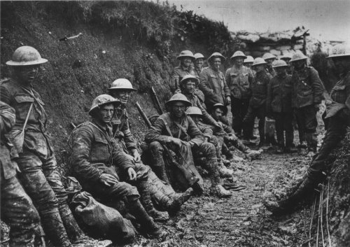 Soldiers in the trenches during World War I.